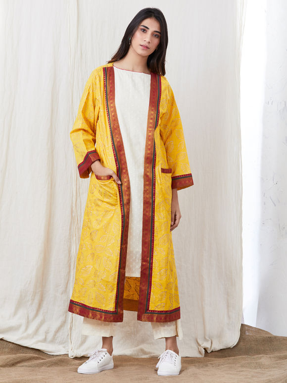 White Hand Block Printed Cotton Kurta with Pants and Yellow Jacket - Set of 3