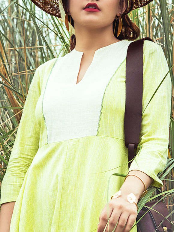 Green Cotton Slub Dress