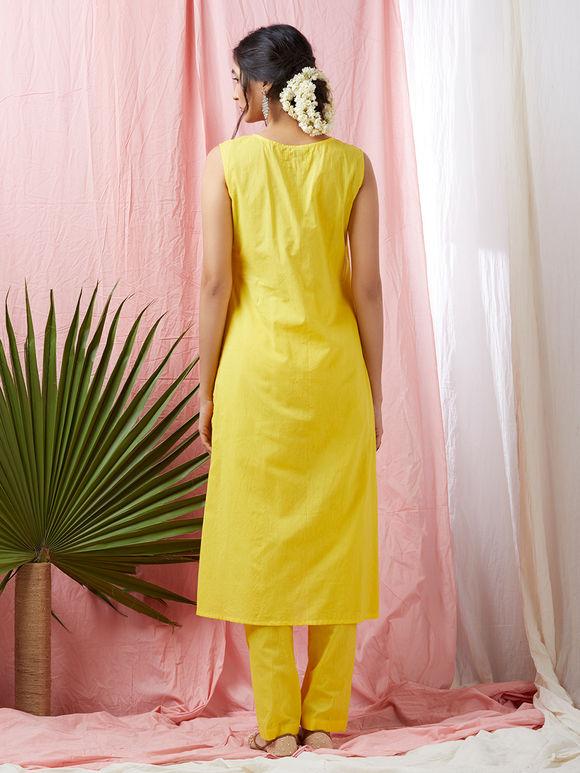 Yellow Cotton Mul Gota Embroidered Kurta with Pants - Set of 2