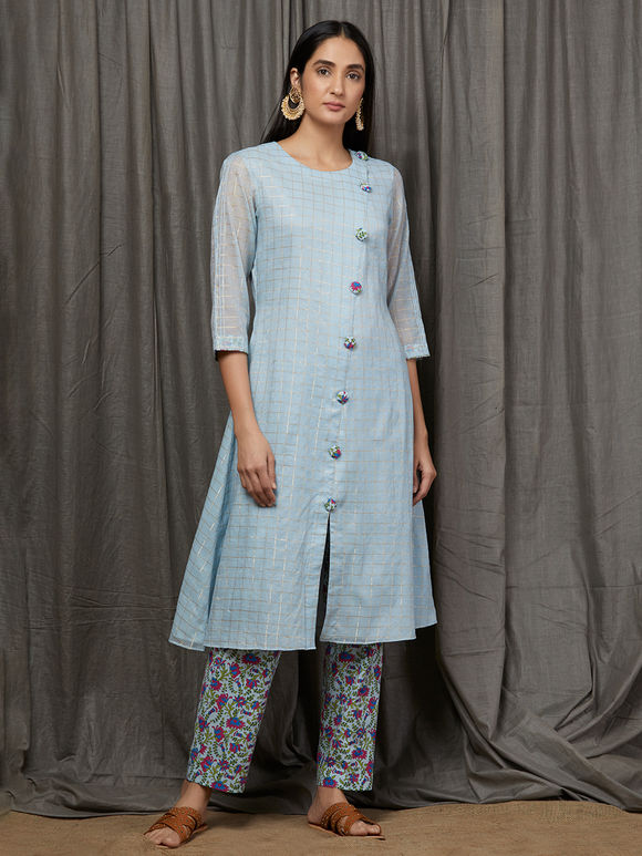 Powder Blue Checkered Chanderi Kurta with Printed Cotton Mulmul Pants and Dupatta - Set of 3