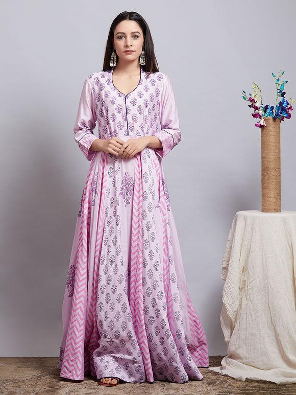 Lavender Hand Block Printed Cotton Silk Kurta with Chanderi Dupatta - Set of 2