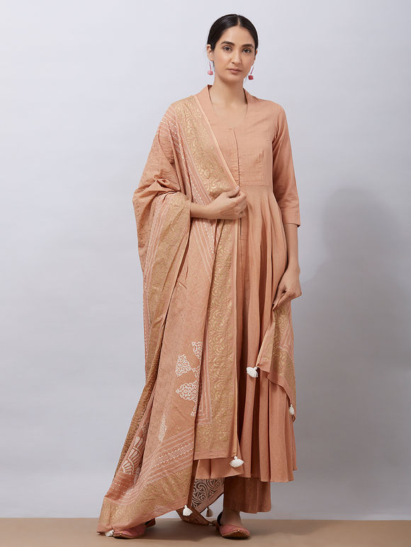 Brown Cotton Kurta with Hand Block Printed Pants and Dupatta- Set of 3