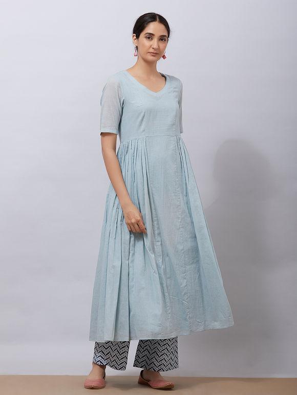 Powder Blue Cotton Kurta with Slip, Hand Block Printed Pants and Dupatta- Set of 3