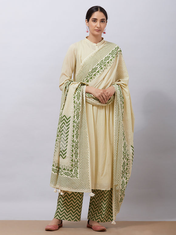 Pista Green Cotton Kurta with Slip, Hand Block Printed Pants and Dupatta- Set of 3