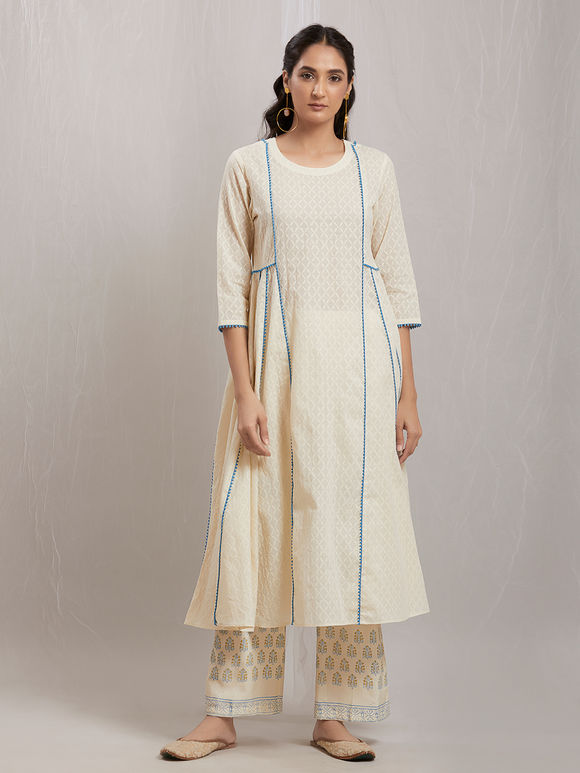 Off White Cotton Kurta with Printed Pants and Chanderi Scarf - Set of 3