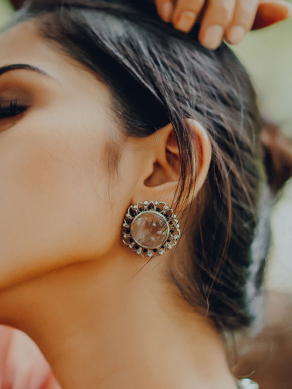 Silver Plated Crystal Quartz Semi Precious Stone Brass Stud Earrings