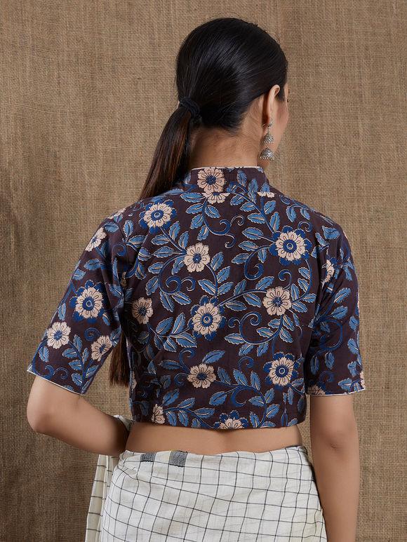 Blue Black Kalamkari Block Printed Cotton Blouse