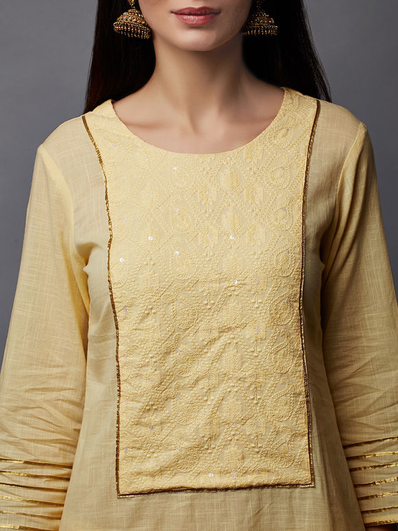 Yellow Cotton Embroidered Kurta with Tiered Palazzo - Set of 2