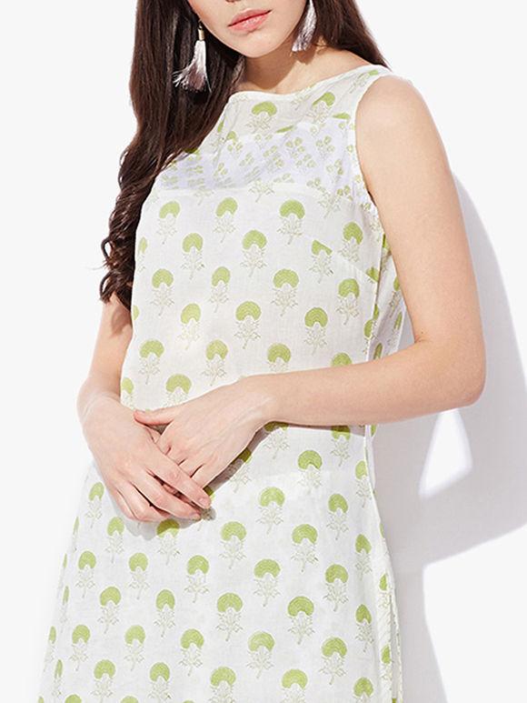 Off White Green Hand Block Printed Cotton Sleeveless Kurta