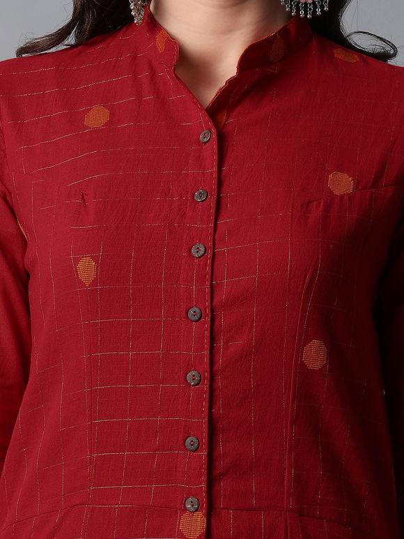 Red Zari Checkered Mangalgiri Cotton Dobby Kurta with Orange Pants- Set of 2