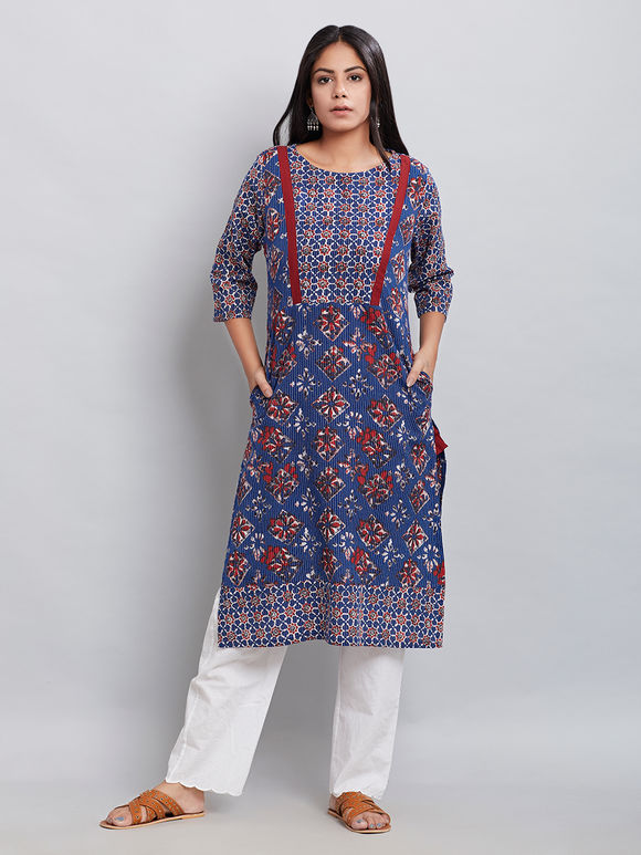 Blue Hand Block Printed Cotton Kurta with Red Jacket - Set of 2