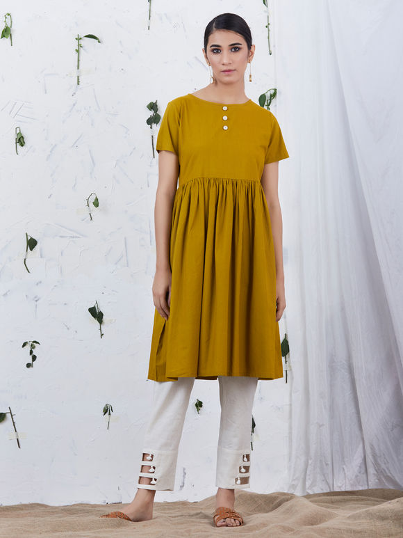 Mustard Yellow Flared Cotton Kurta with Grey Embroidered Chanderi Jacket- Set of 2
