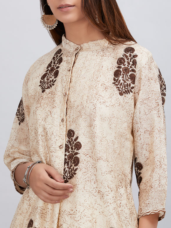 Beige Brown Hand Block Printed Chanderi Kurta