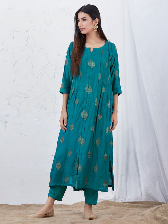 Blue Zari Cotton Silk Kurta with Modal Pants and Printed Dupatta - Set of 3
