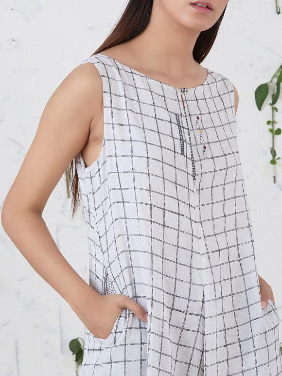 White Hand Block Printed Cotton Georgette Jumsuit