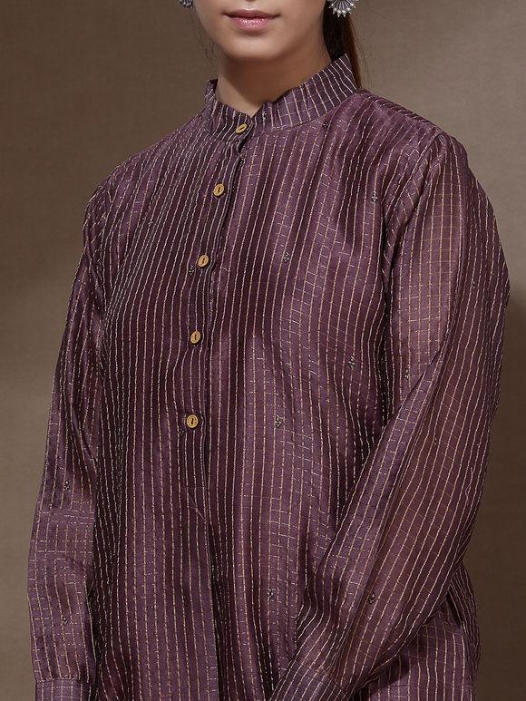 Purple Cotton Silk Zari Kurta with Off White Modal Palazzo - Set of 2