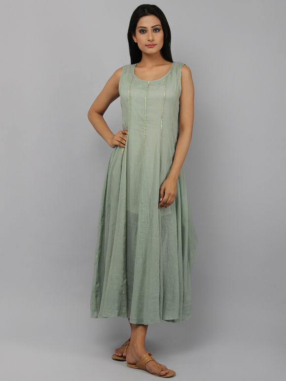 Green Cotton Flared Dress with Inner - Set of 2