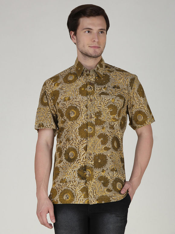 Brown Floral Hand Block Printed Cotton Shirt
