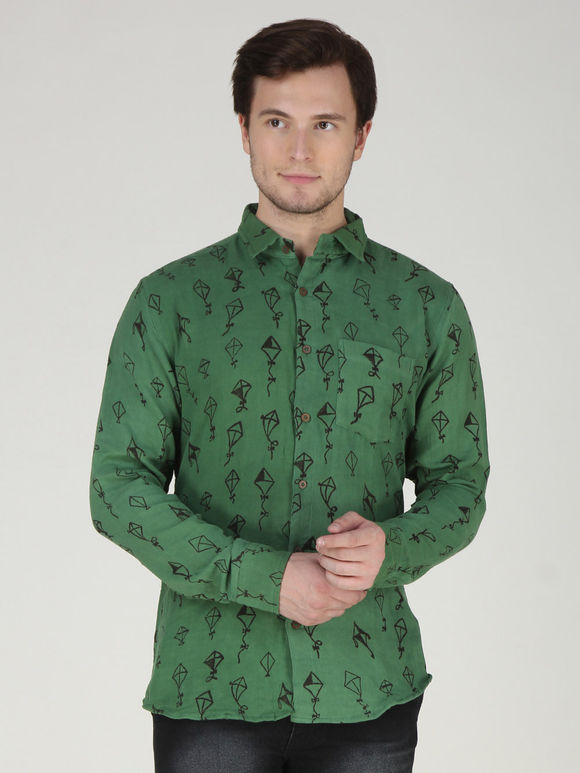 Green Kite Hand Printed Khadi Shirt