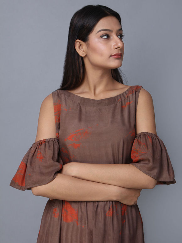 Brown Cotton Cold Sleeve Dress