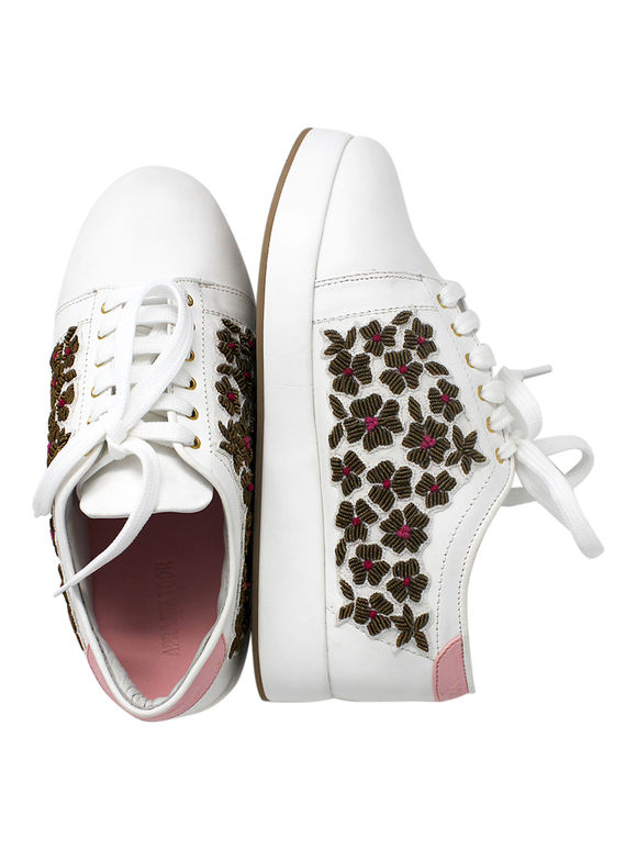 White Embroidered Handcrafted Leatherette Sneakers