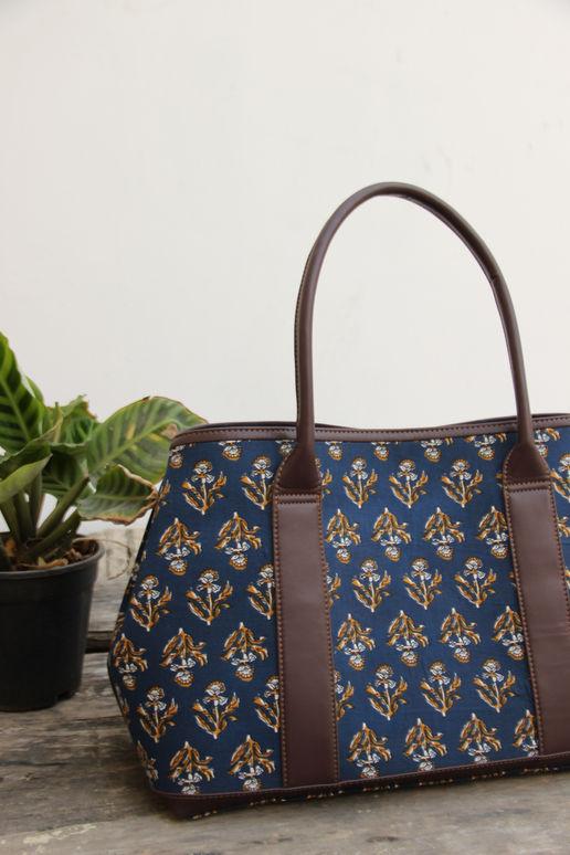 Blue Cotton Printed Tote Bag