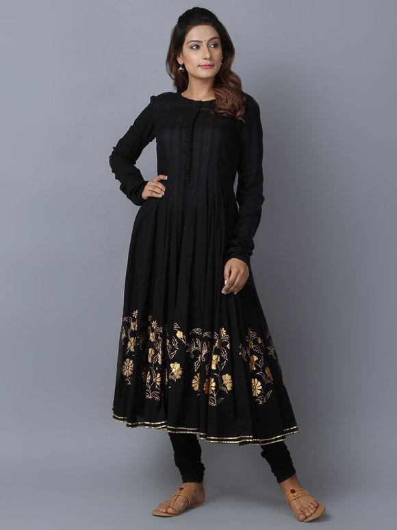 Black Foil Printed Cotton Anarkali