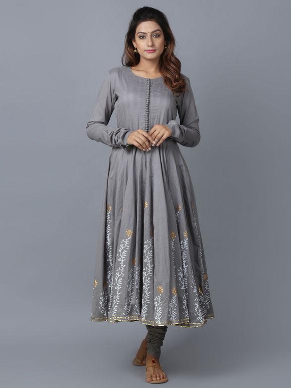 Grey Foil Printed Cotton Anarkali