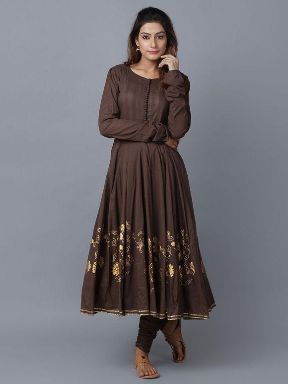 Brown Foil Printed Cotton Anarkali
