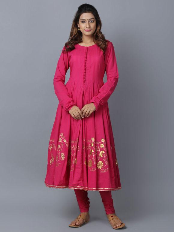 Pink Foil Printed Cotton Anarkali