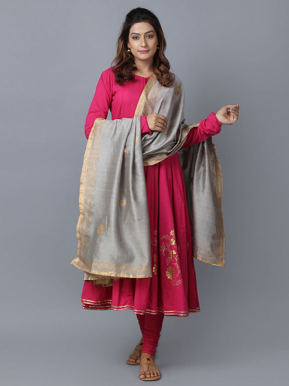 Pink Grey Foil Printed Cotton Chanderi Anarkali Suit - Set of 3