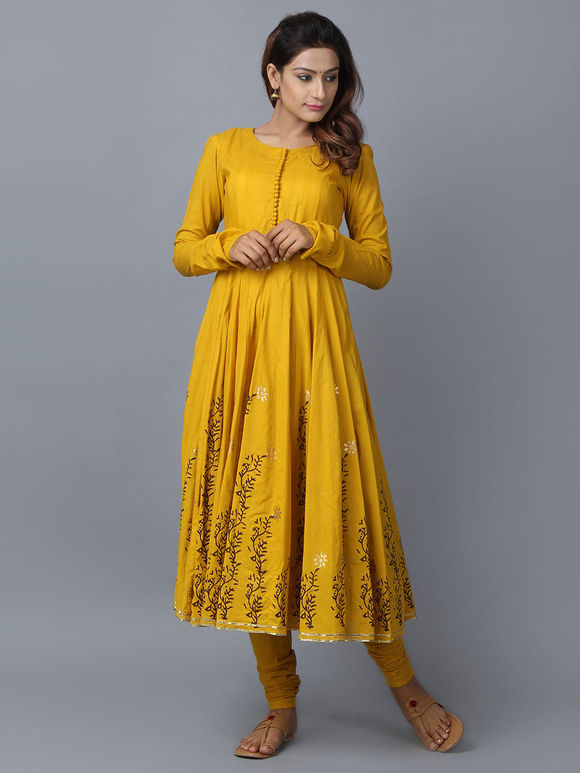 Mustard Foil Printed Cotton Anarkali