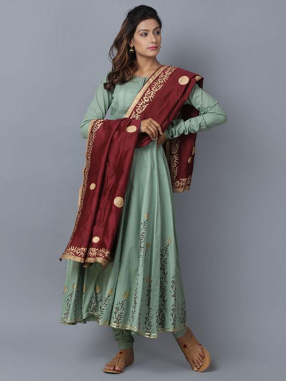 Green Maroon Foil Printed Cotton Chanderi Anarkali Suit - Set of 3