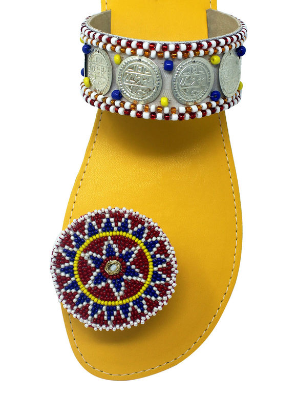 Yellow Beads Leatherette Floral Paduka