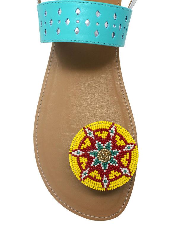 Blue Tan Kasturi Beads Leatherette Paduka