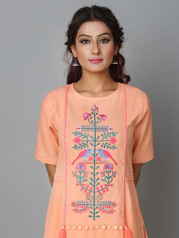 Peach Khadi Cotton Hand Embroidered Kurta with Pants - Set of 2