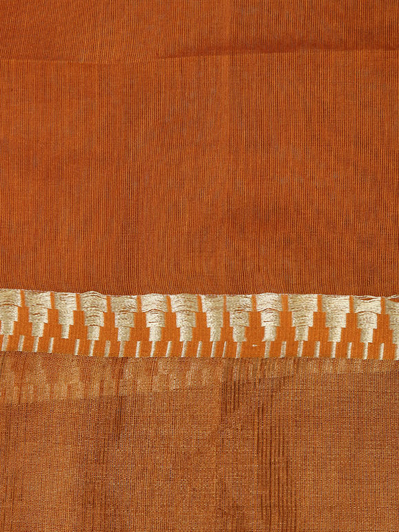Tan Jamdani Handloom Cotton Silk Saree