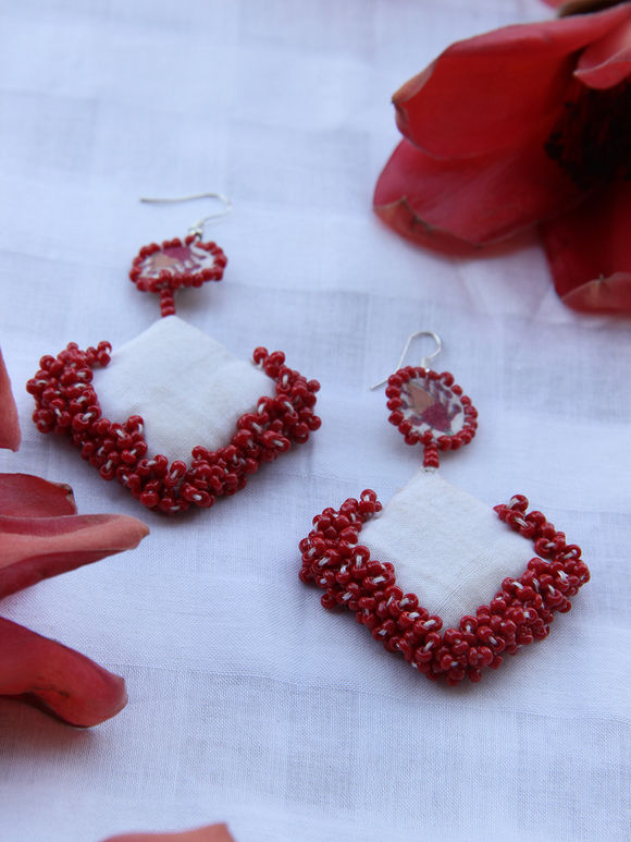 White Red Handcrafted Cotton Earrings