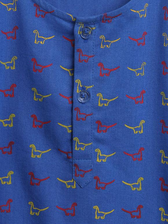 Blue Yellow Cotton Dinosaur Printed Night Suit