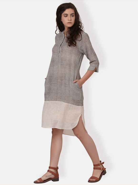Grey Ivory Hand Block Printed Cotton High Low Dress