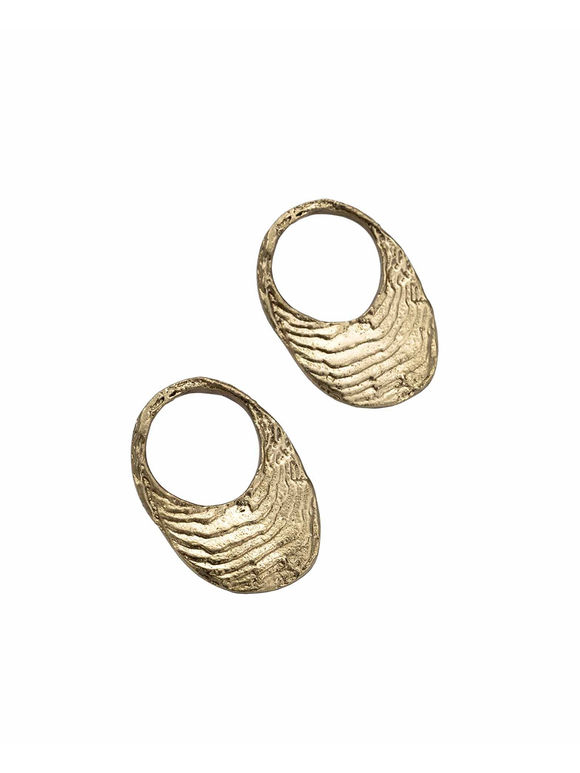 Gold Toned Handcrafted Ocean Hoops Brass Earrings