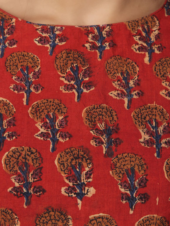 Red Hand Block Printed Cotton Blouse