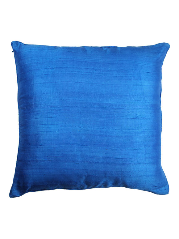 Blue Dupion Silk Hand Block Printed Cushion Cover