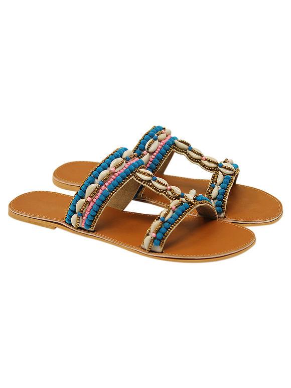 Turquoise Tan Handcrafted Kori Shells Leatherette Flats