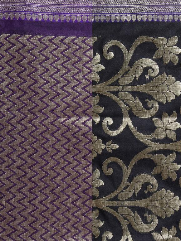 Black Purple Golden Art Silk Banarasi Dupatta