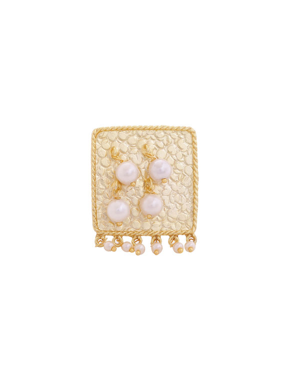 Golden Toned Pearls Handcrafted Brass Ring