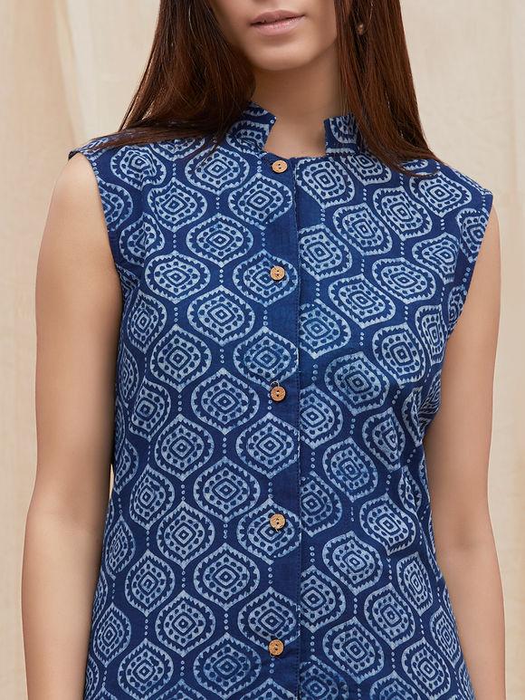 Indigo Dabu Printed Cotton Kurta cum Jacket