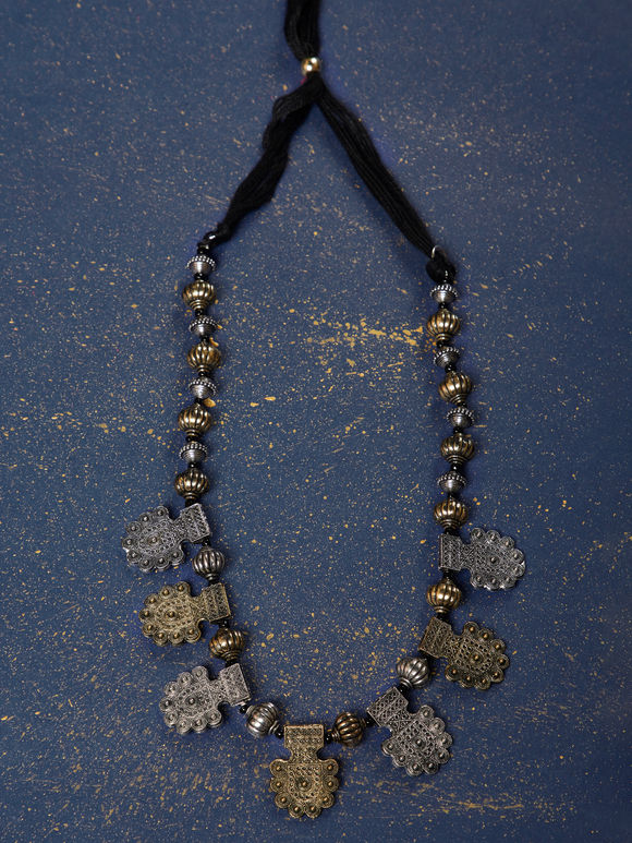 Dual Toned Handcrafted Metal Tribal Necklace