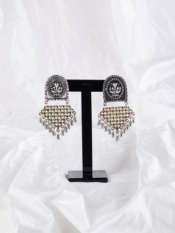 Dual Toned Handcrafted Brass Ganesha Earrings