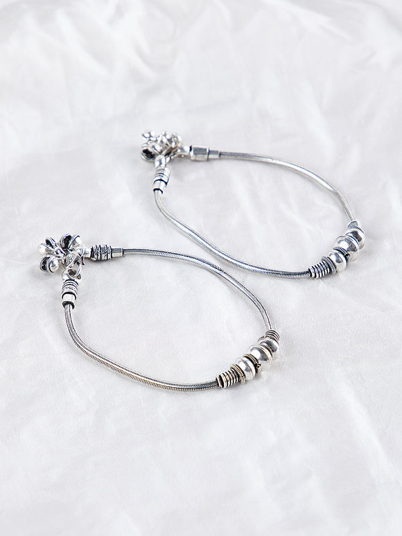 Silver Toned Handcrafted Anklets - Set of 2